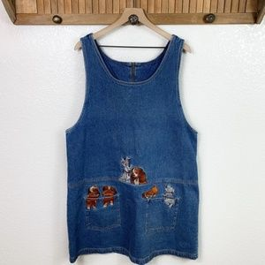Vintage Disney Lady & The Tramp Denim Jumper Dress